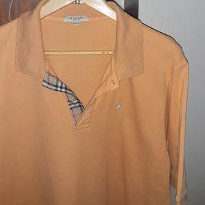 """EUC Burberry nova check """"orange cream"""" polo"""